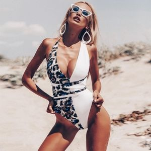 Leopard Criss Cross Backless One Piece Swimsuit